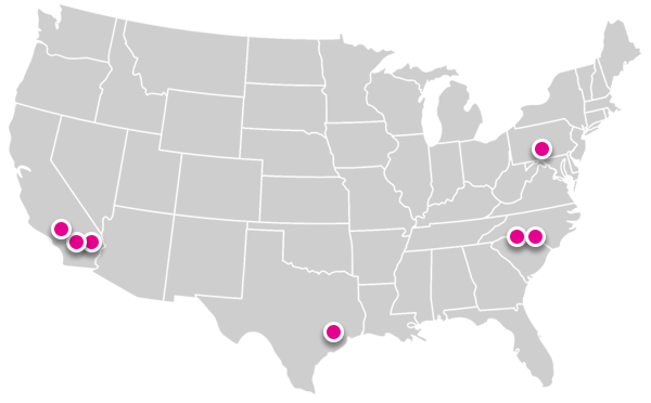 Map of six distribution centers